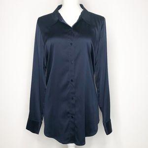 Eileen Fisher Navy Button Down Silk Blouse